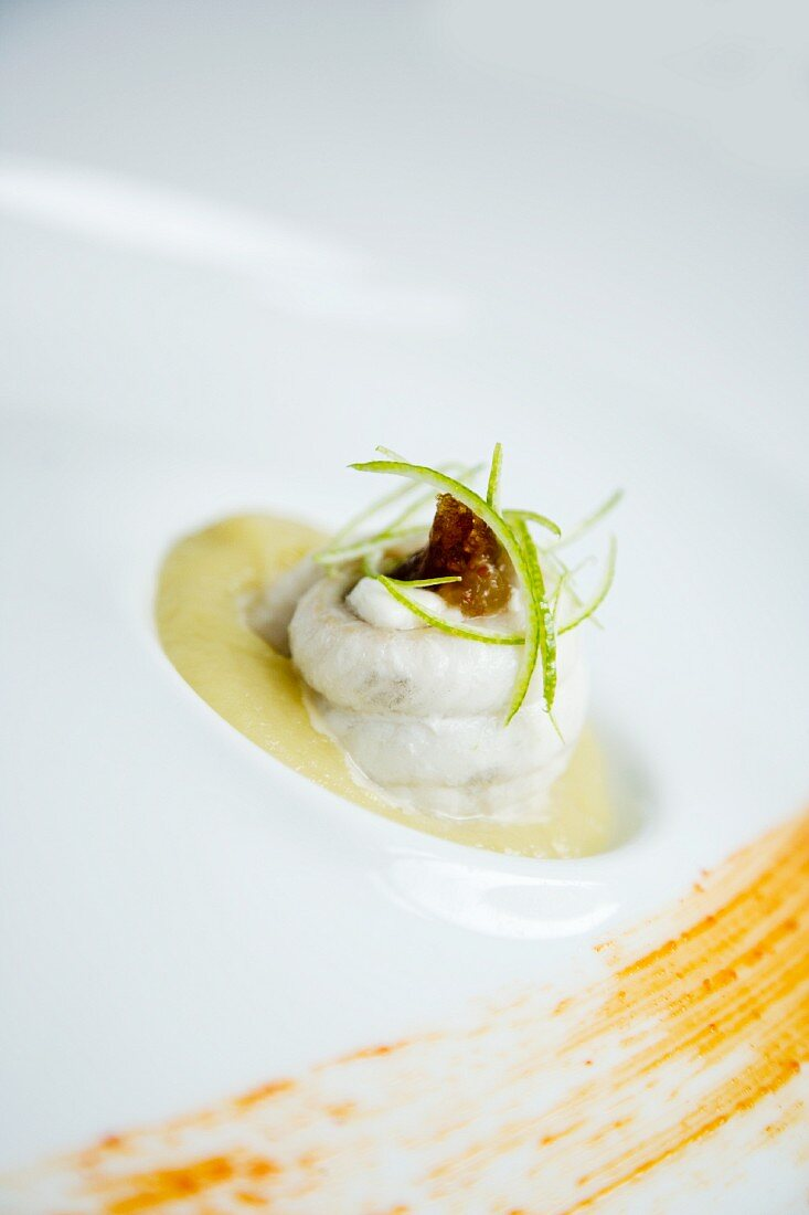 Sole filled with goat's cheese and figs on a lime and aubergine mousse