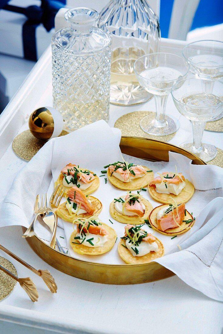 Potato blini with salmon