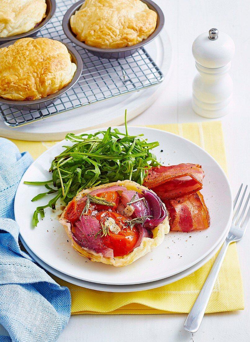 Bacon and tomato tart tatins