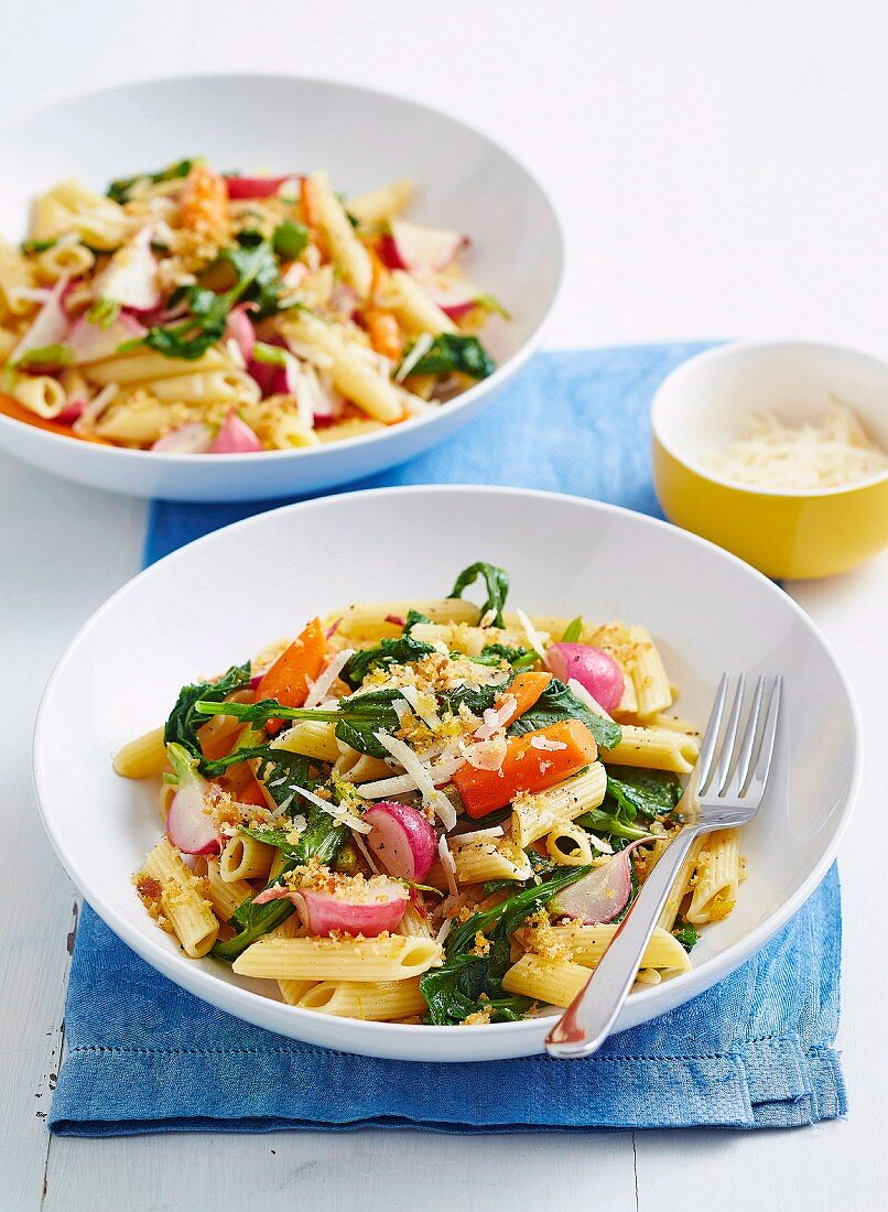 Buttered radish and carrot pasta
