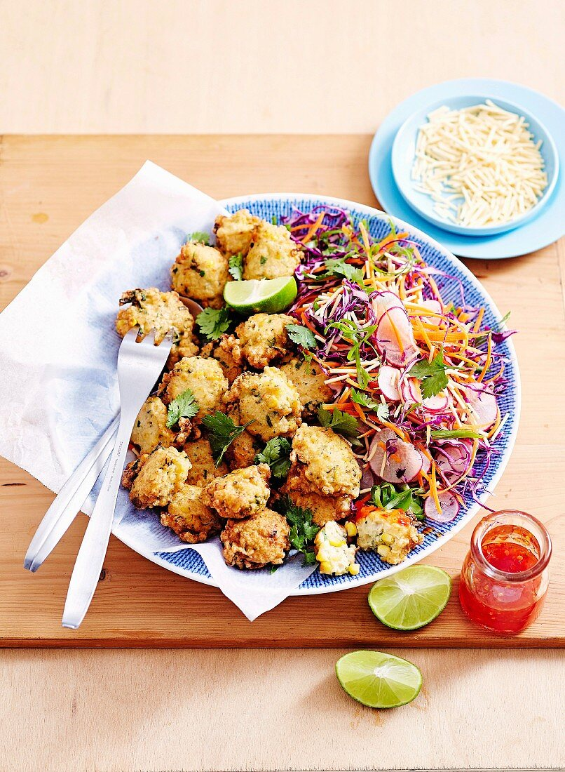Corn & Prawn Fritters with Asian Salad
