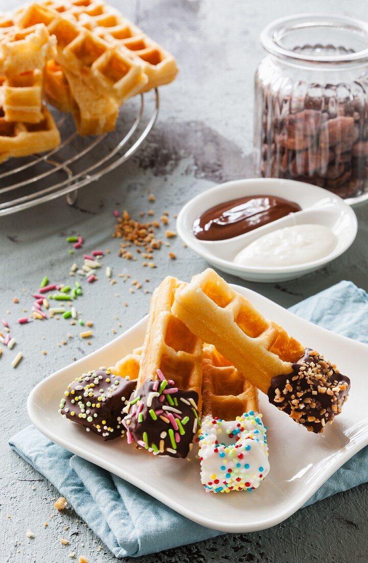 Waffle sticks with dark and white chocolate
