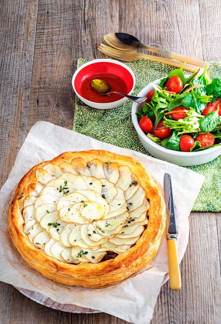 Potato, sausage and thyme tart