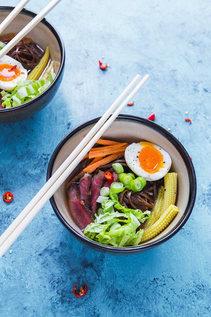 Ramen soup with beef, vegetables and egg (Japan)