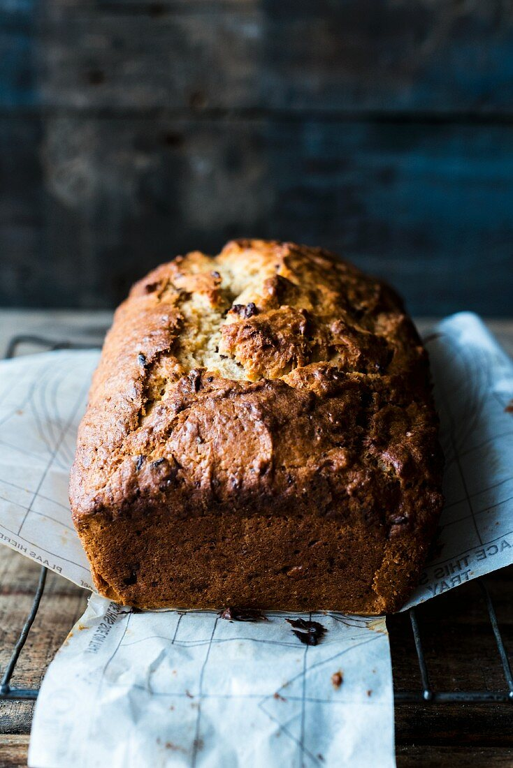 Banana bread on a piece of baking paper
