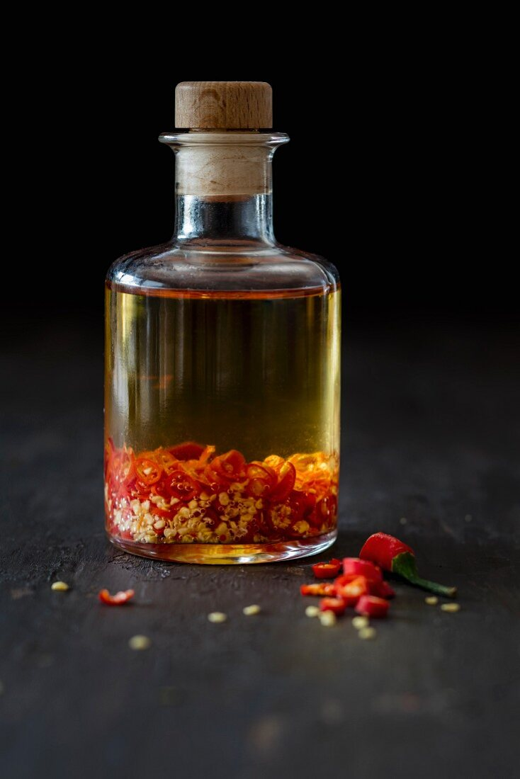 A bottle of homemade chilli oil