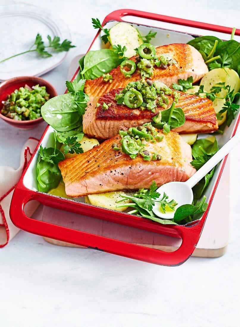 Salmon with Olive & Caper Salsa