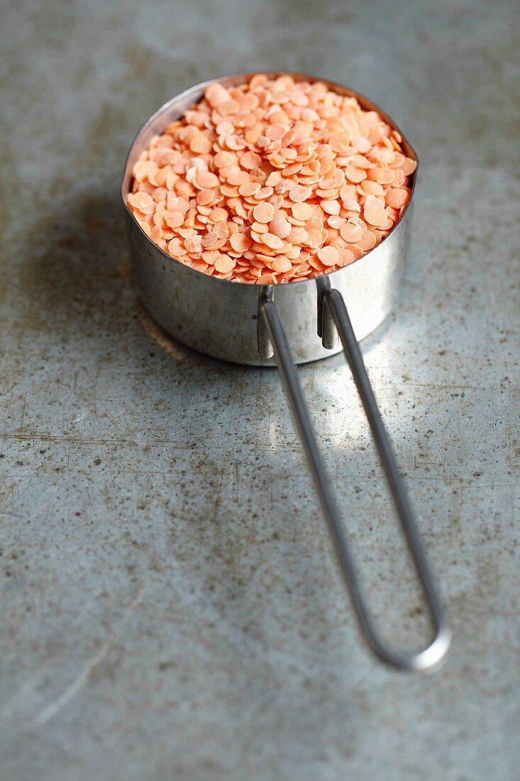 Red lentils in a saucepan
