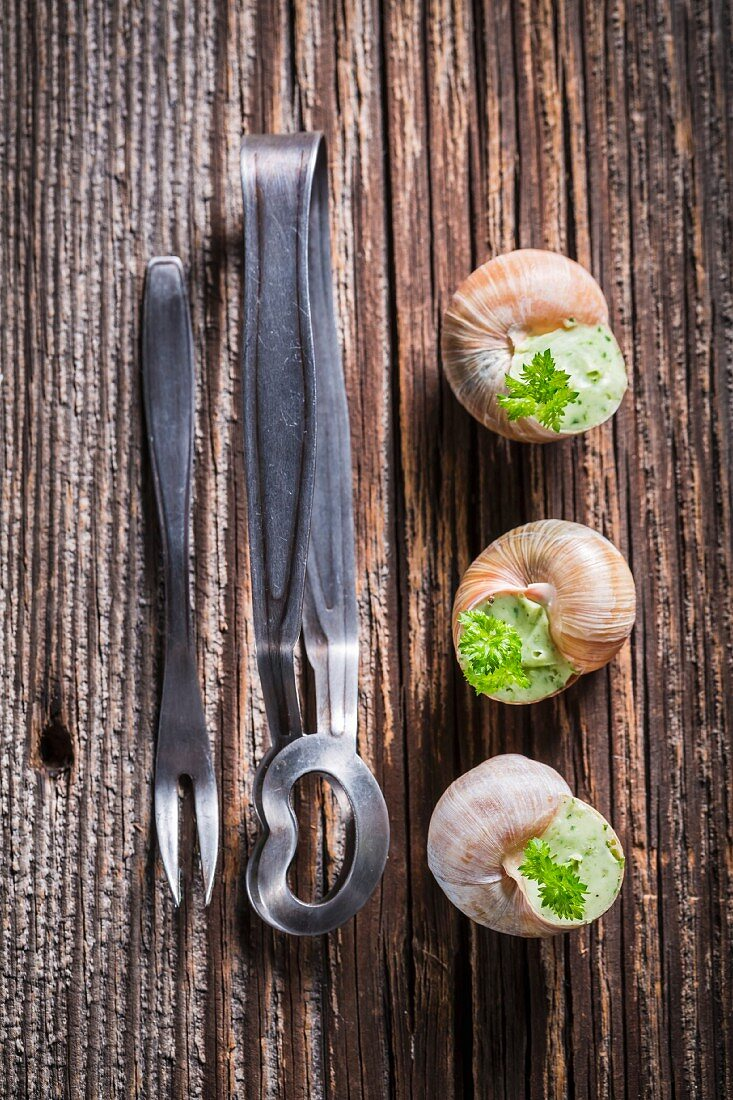 Snails with garlic butter and parsley being prepared for roasting