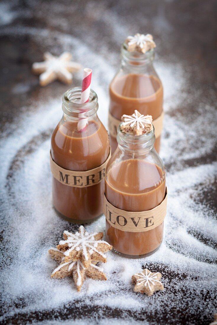 Three bottles of praline liqueur for Christmas