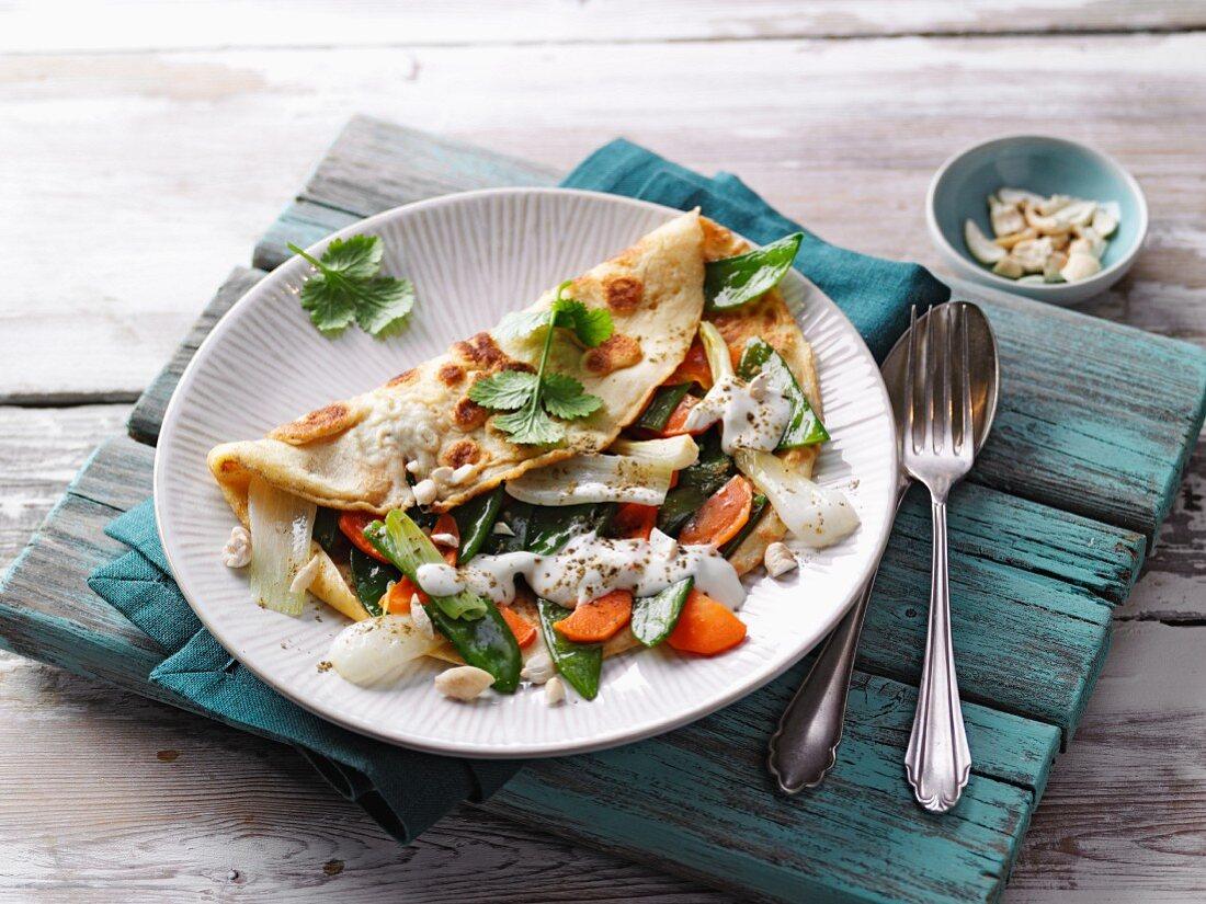Pancakes with moringa vegetables