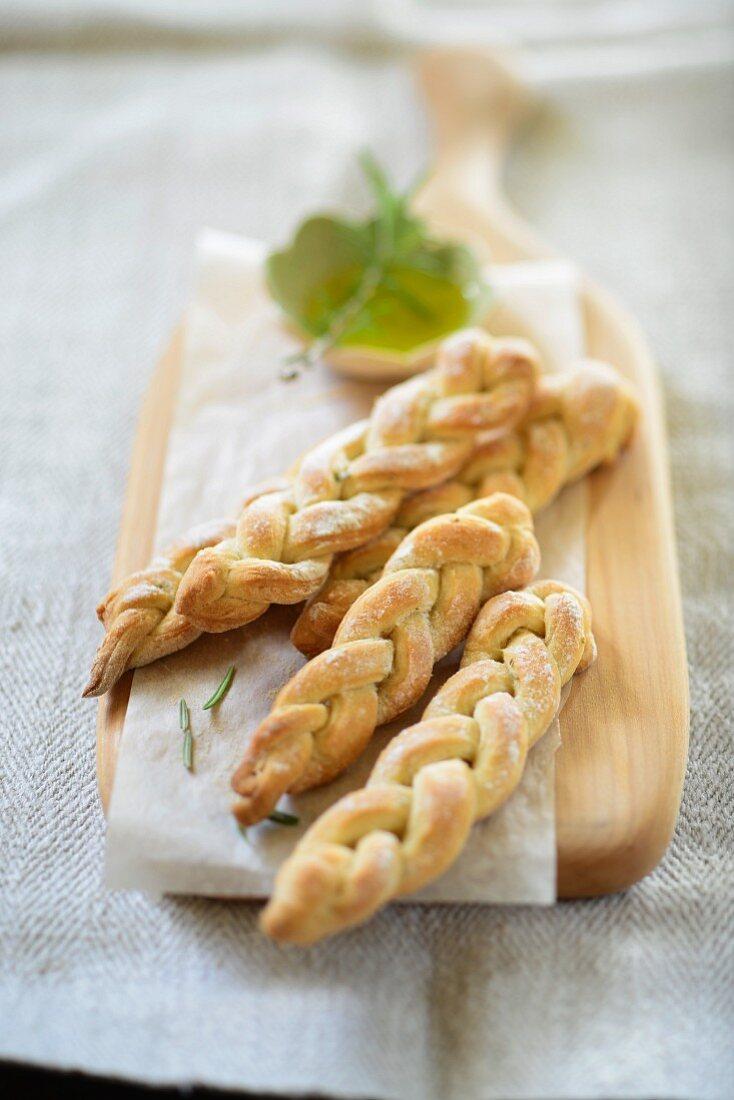 Plaited rosemary bread