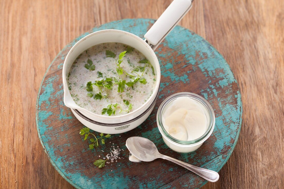 Buckwheat soup with fresh chervil (post fasting)