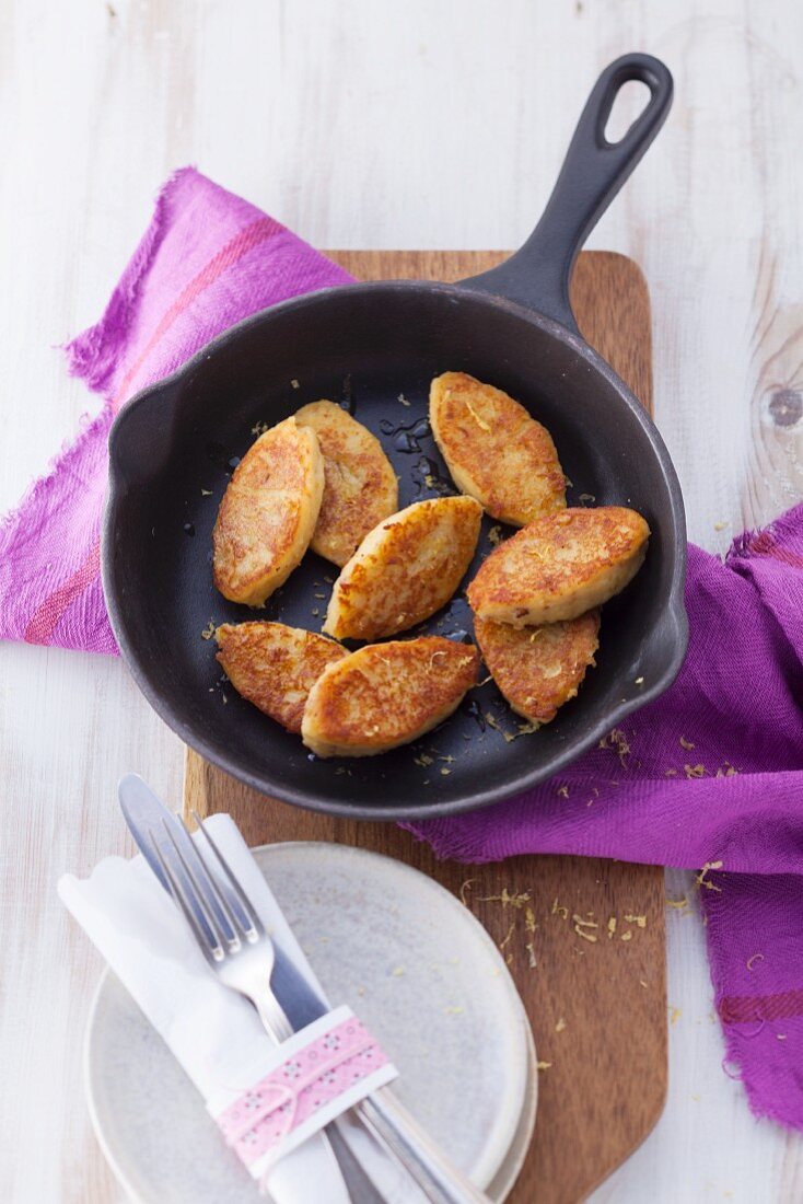 Sweet millet and quark fritters with honey (post fasting)