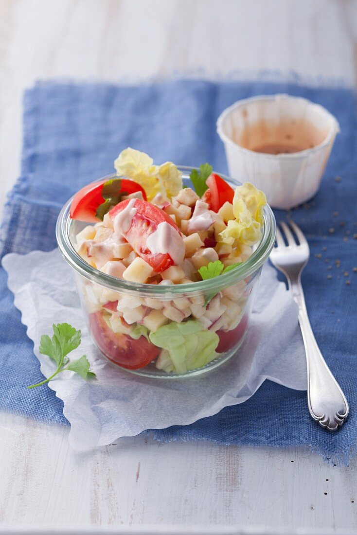 Danish cheese salad with apple and blue cheese (post fasting)