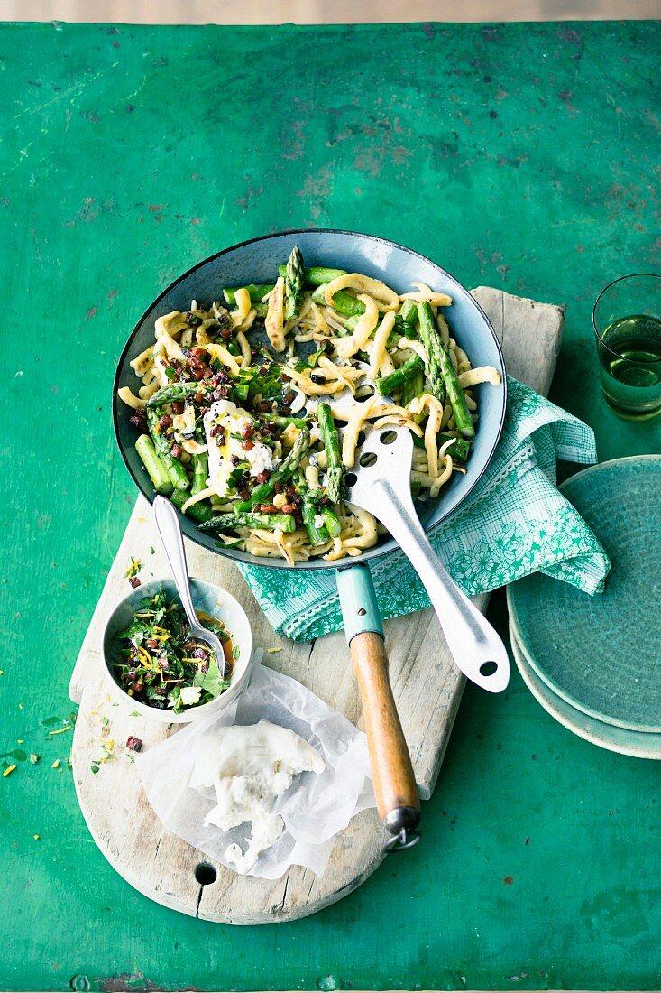 Soft asparagus egg noddles with chorizo gremolata