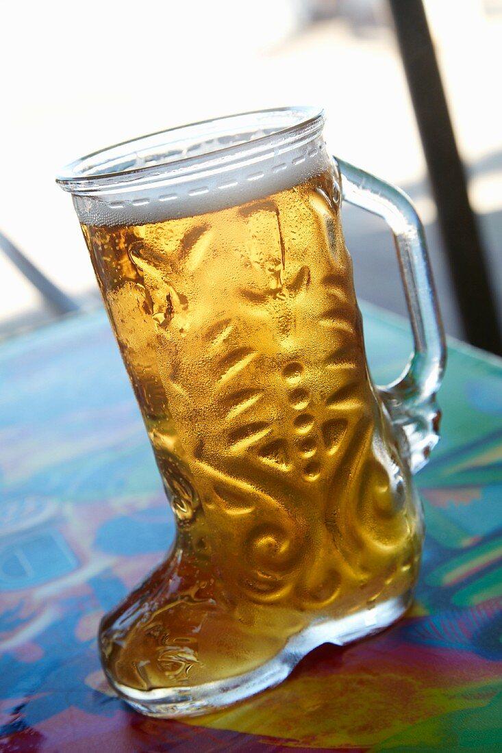 Beer in boot glass (Puerto Vallerta, Mexico)