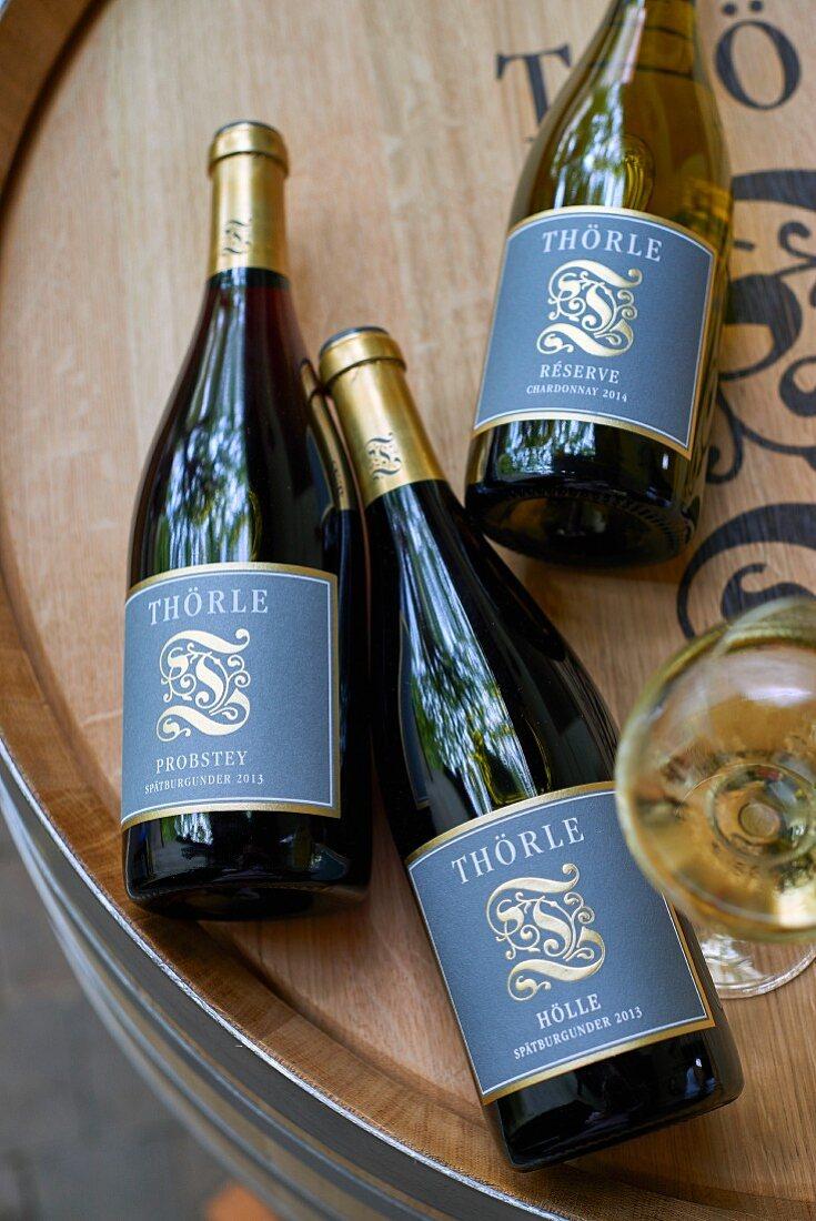 Bottles of wine from the Thörle vineyard, Rhine Hesse, Germany