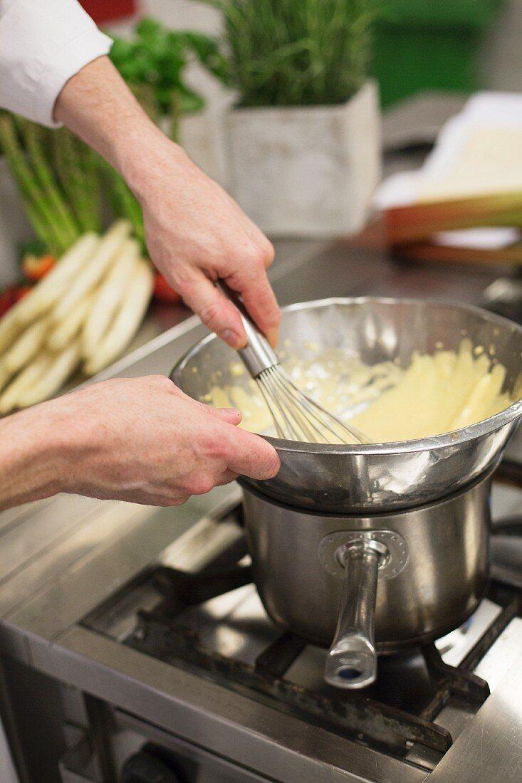 Bechamel sauce being made