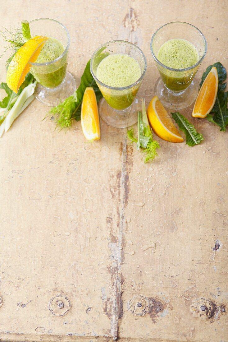 Orange and vegetable smoothie with aloe vera