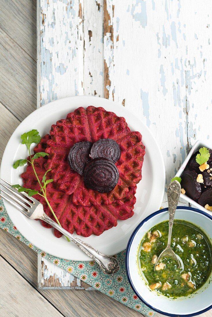 Vegan beetroot waffles