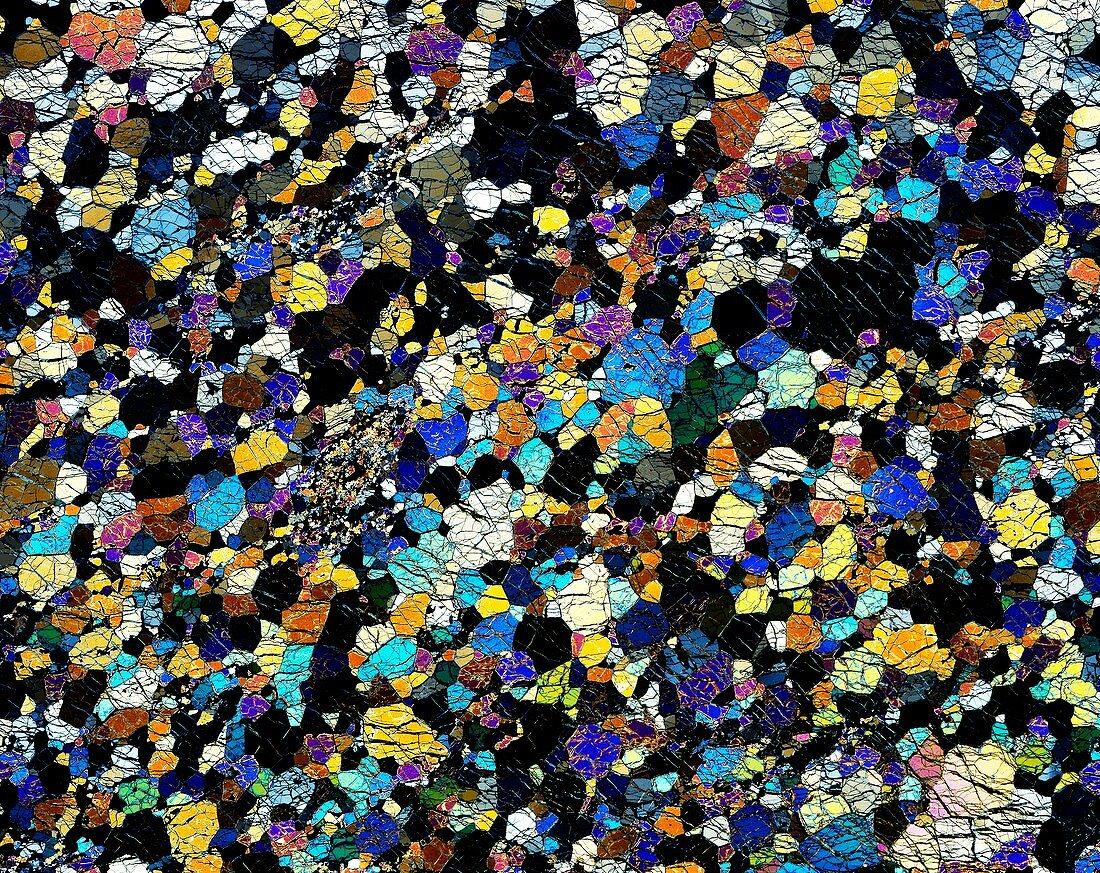 Peridotite rock,light micrograph