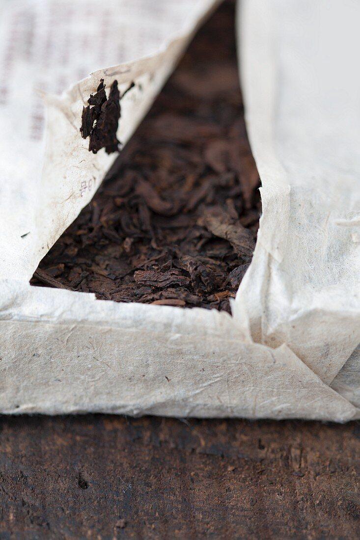A packaged pu-ehr tea brick (close-up)