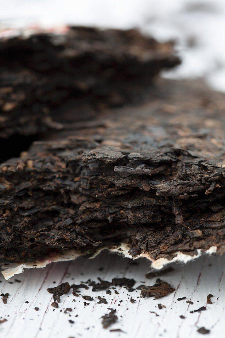 A brick of pu-ehr tea (close-up)