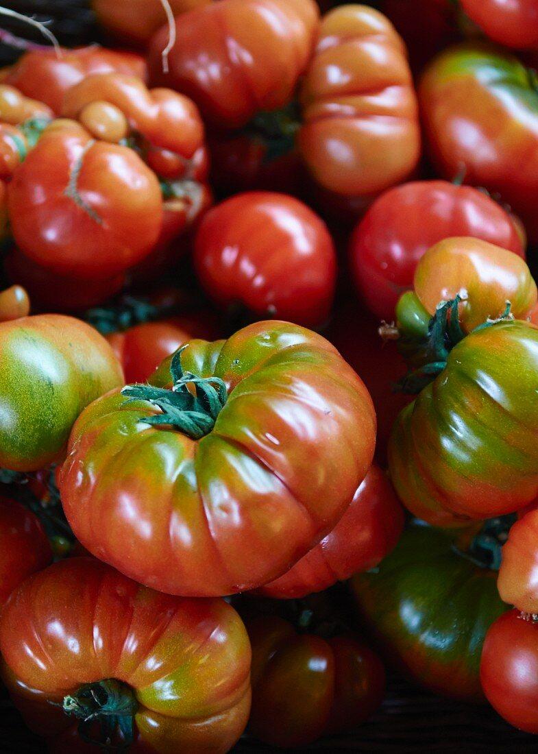 Organic tomatoes at a market