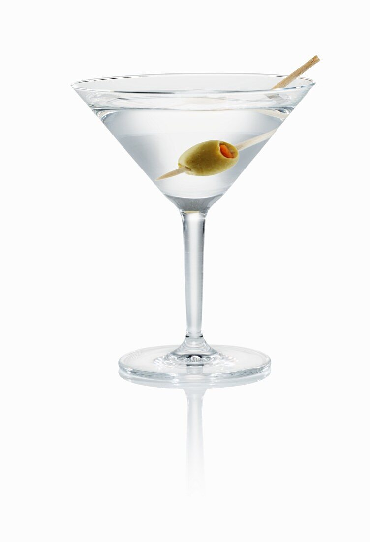 Martini with green olive