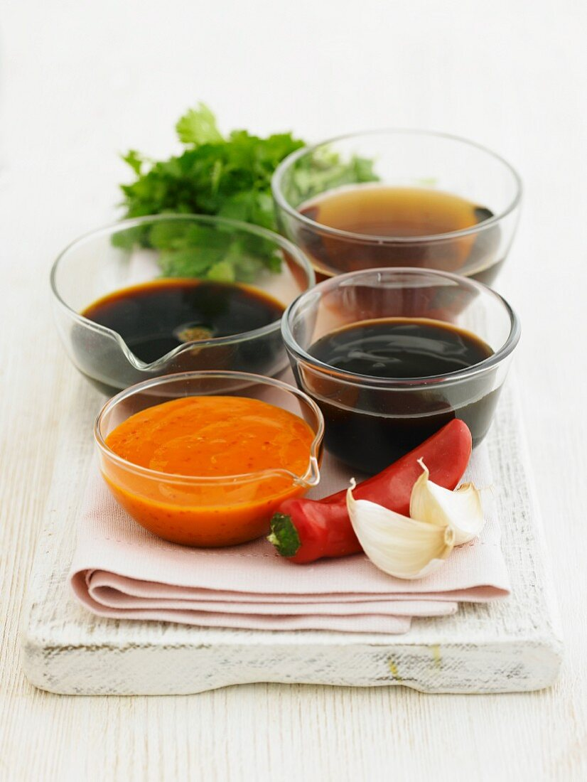 Various different ready-made sauces