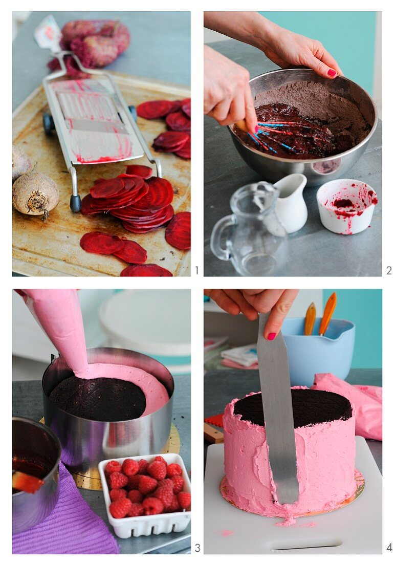 A vegan chocolate cake with beetroot and raspberries being made