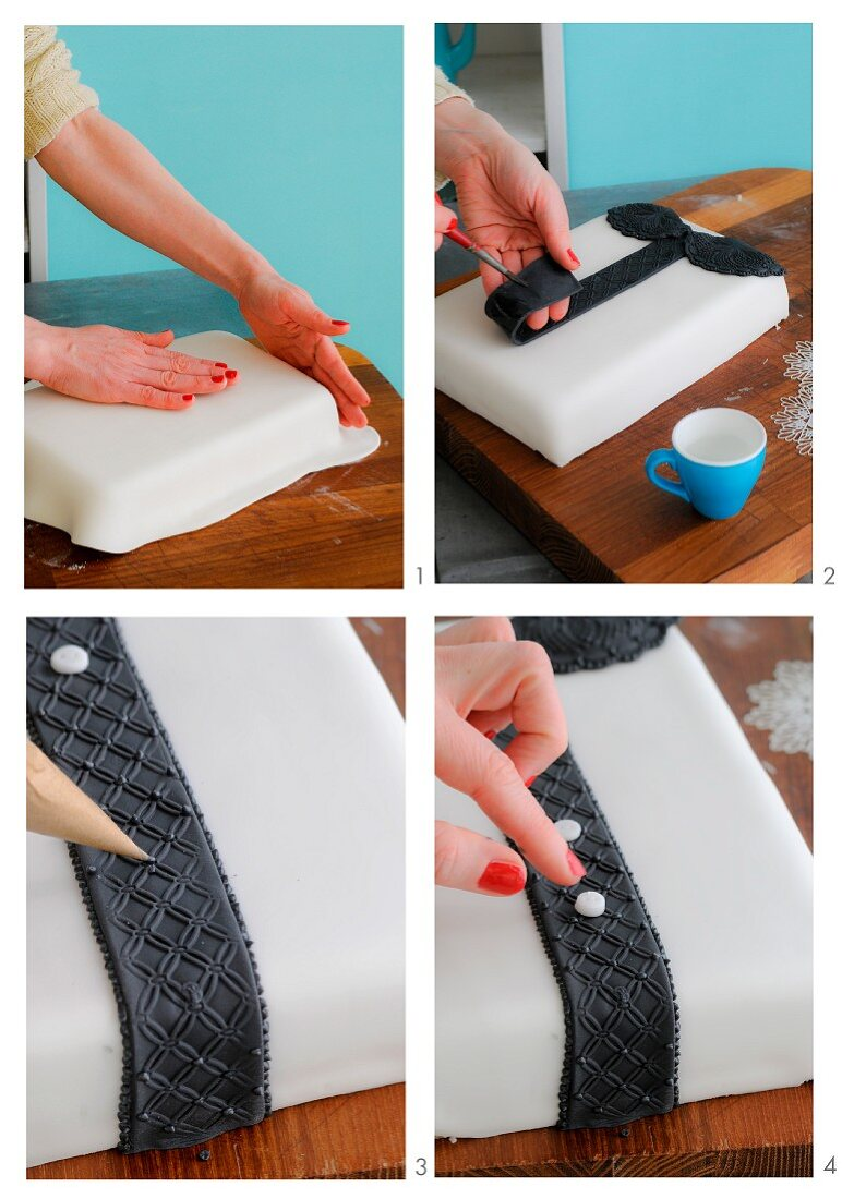 A sponge cake being decorated to look like a lace blouse