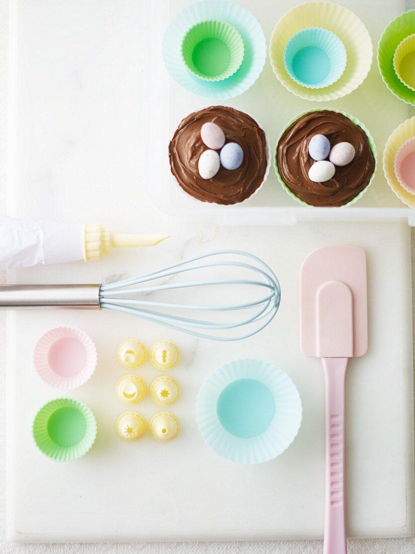 Baking utensils for making Easter cupcakes