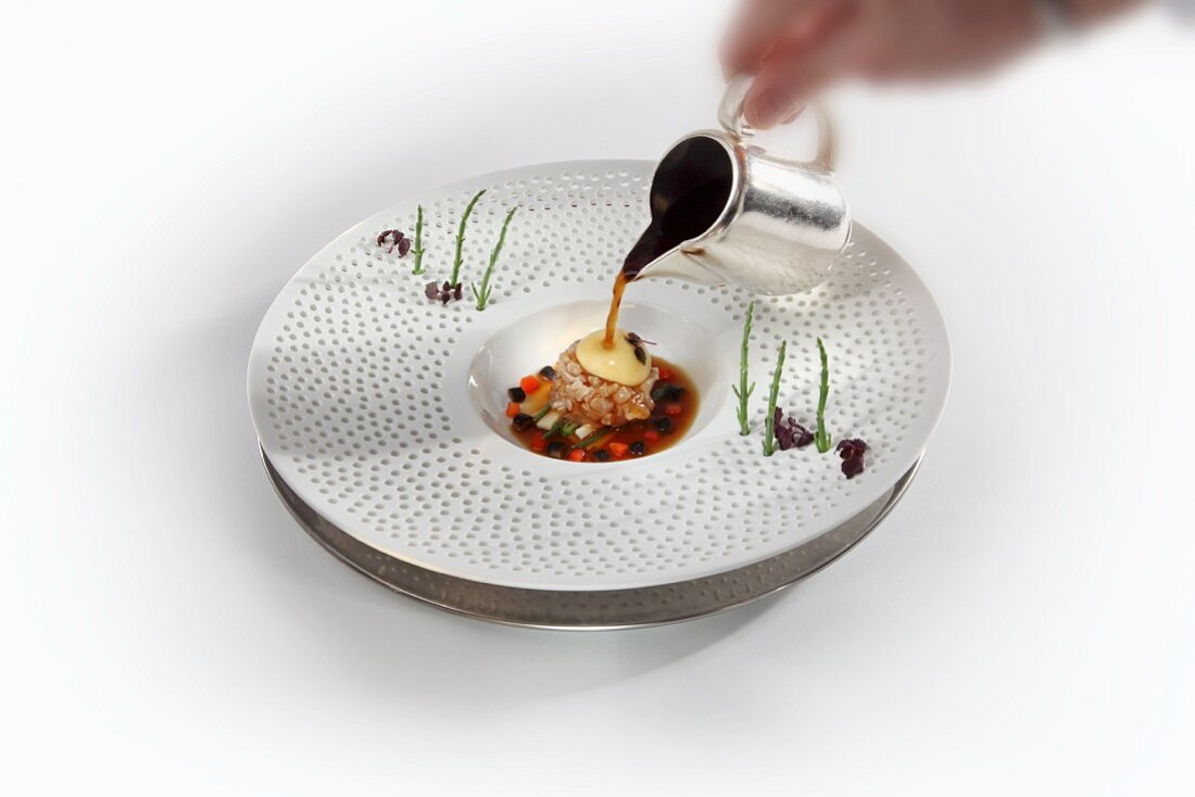 Grayling tartar with wasabi bubbles and shiitake mushroom essence