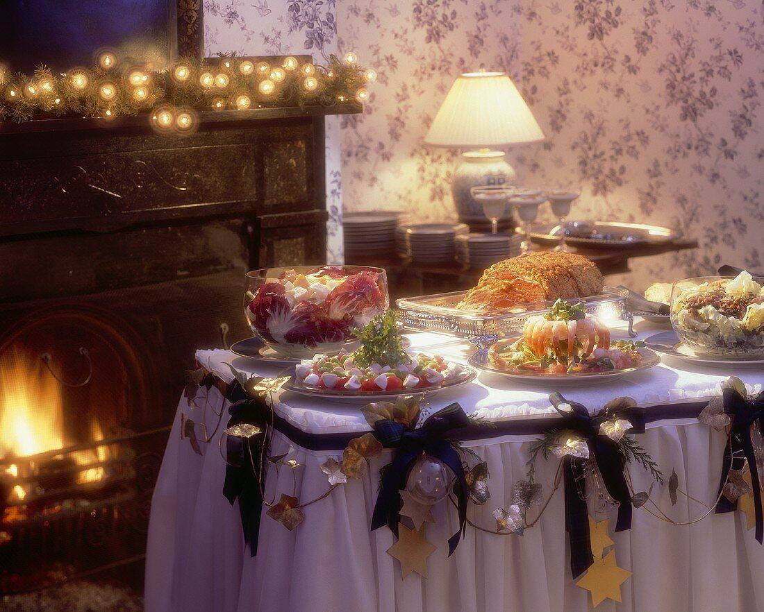 Christmas Buffet near a Fireplace