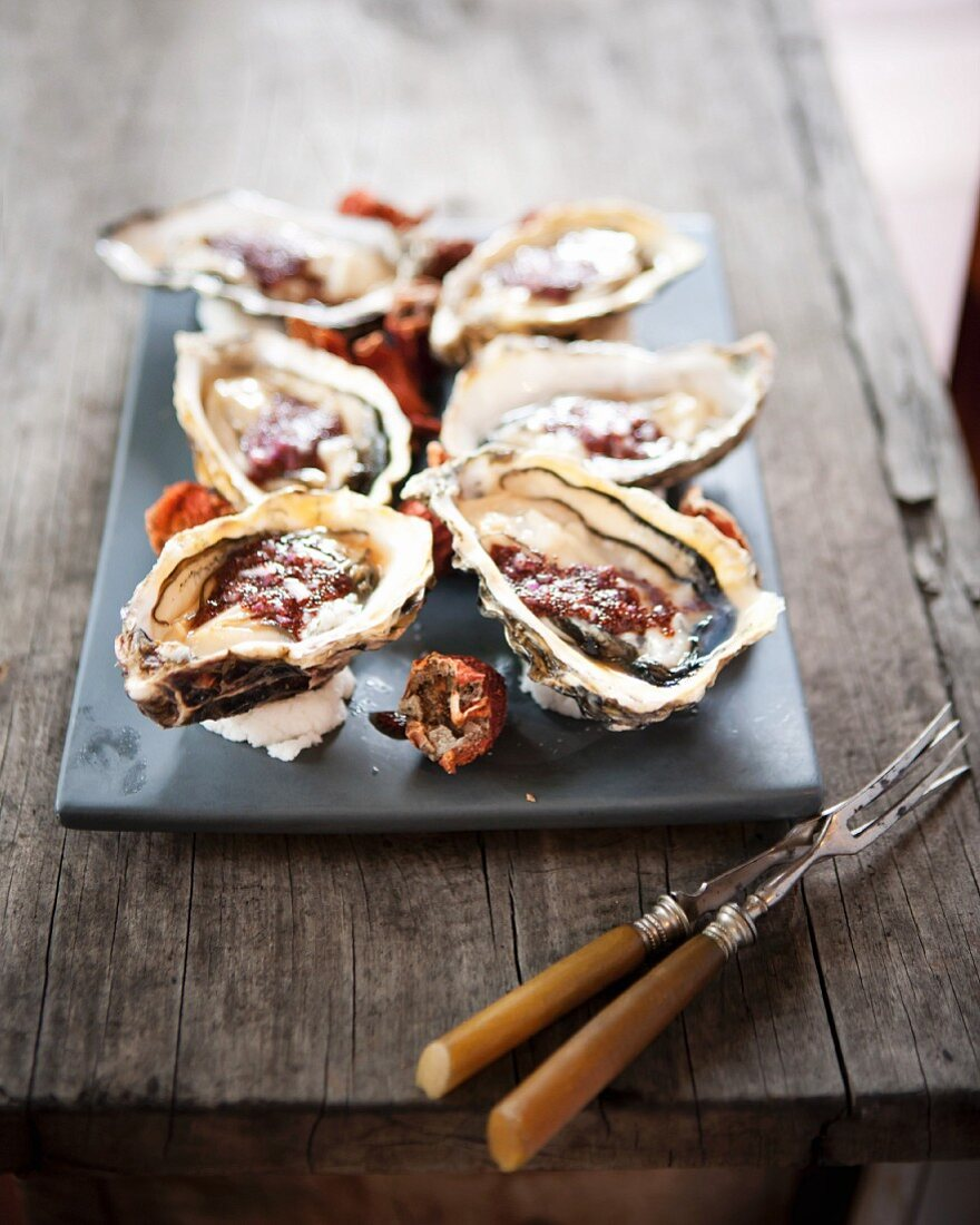 Oysters with sour figs