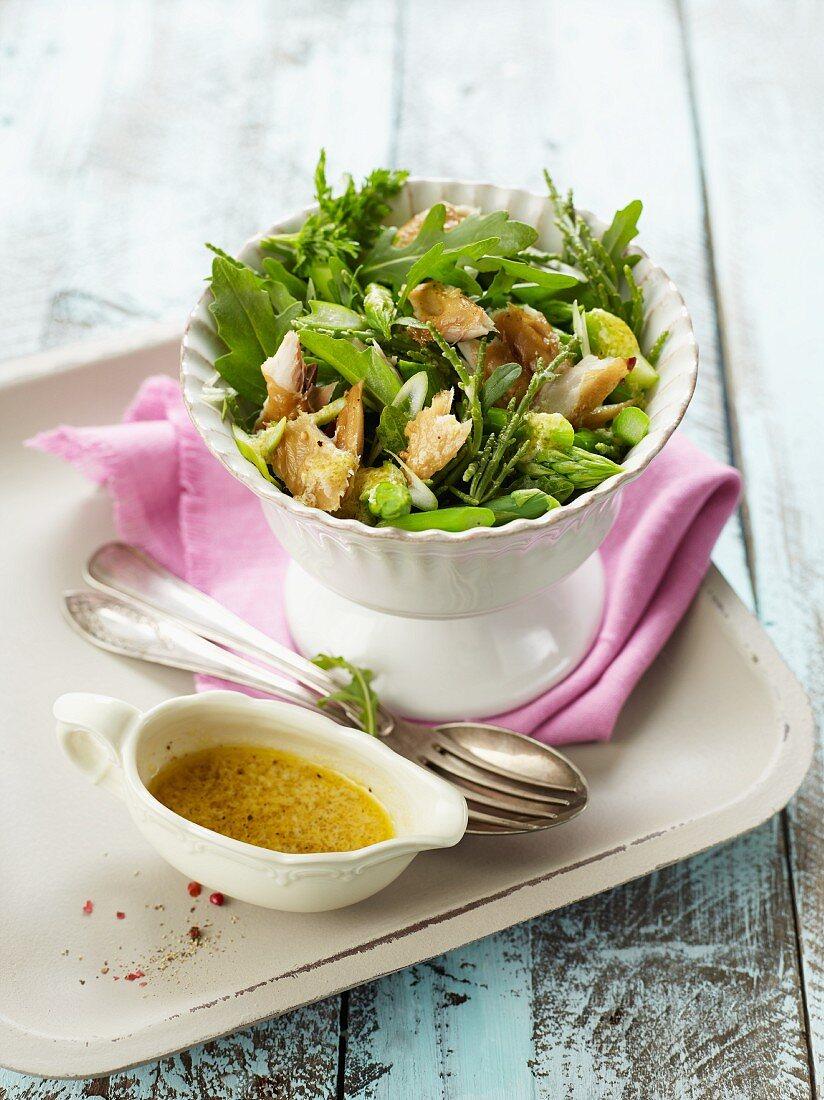 Samphire, green asparagus and fish salad