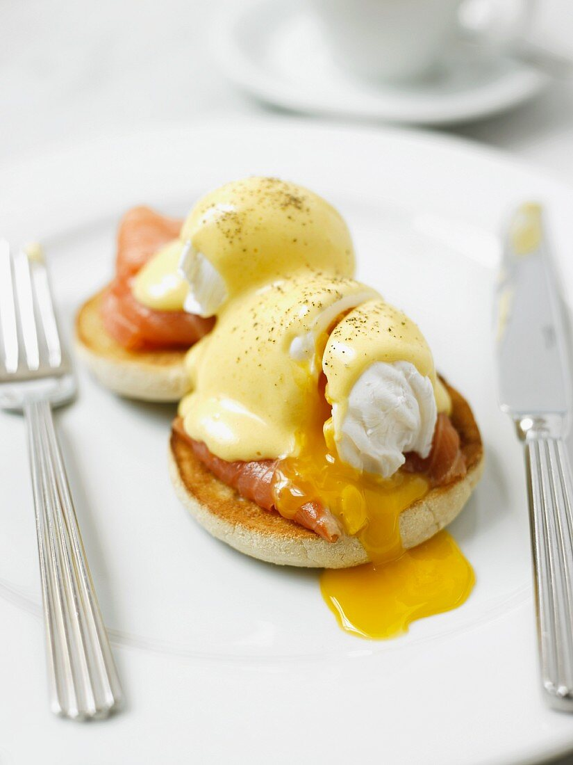 Eggs Benedict with salmon with a runny yolk