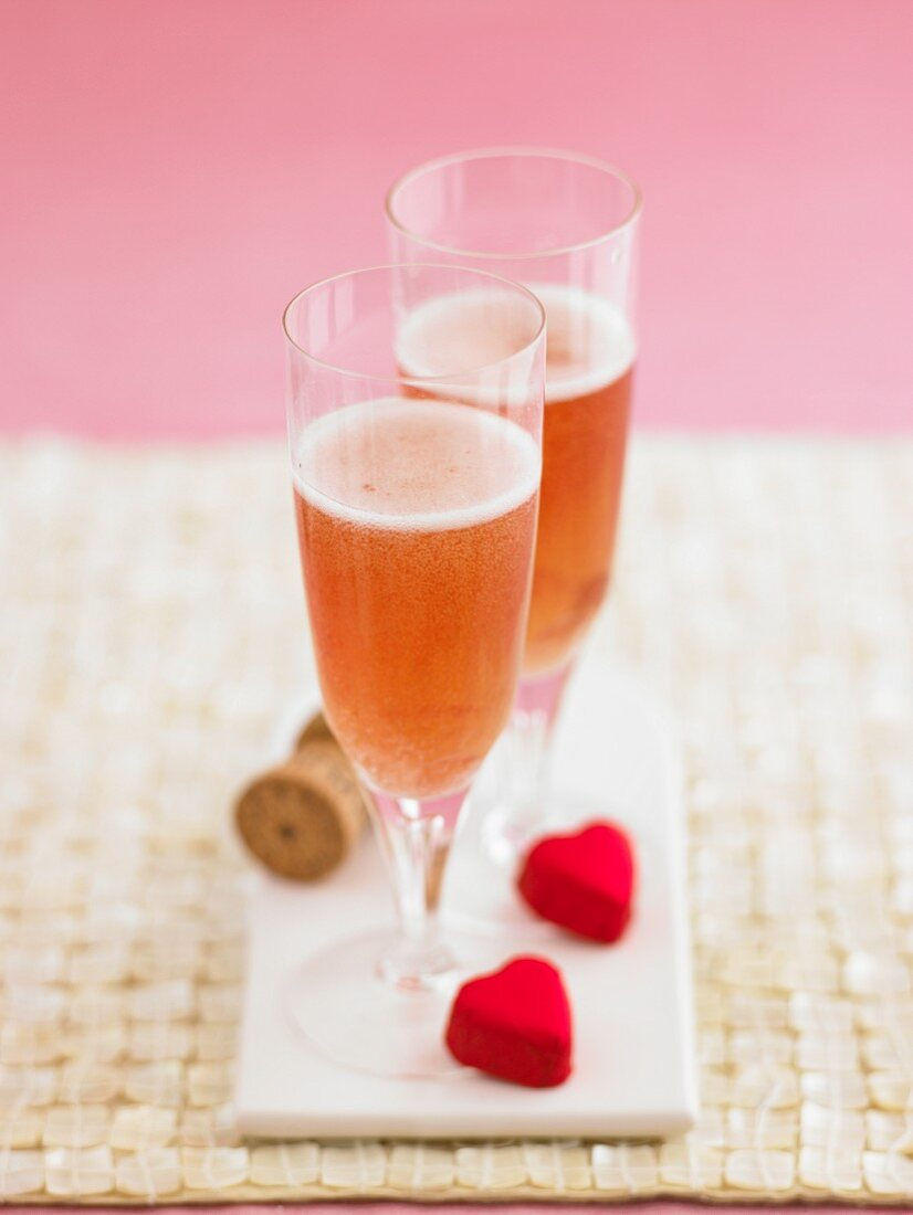 Two glasses of rosé champagne