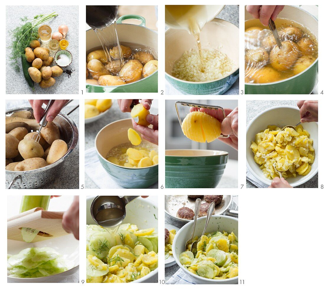 Potato salad with gherkins, vinegar and oil being made