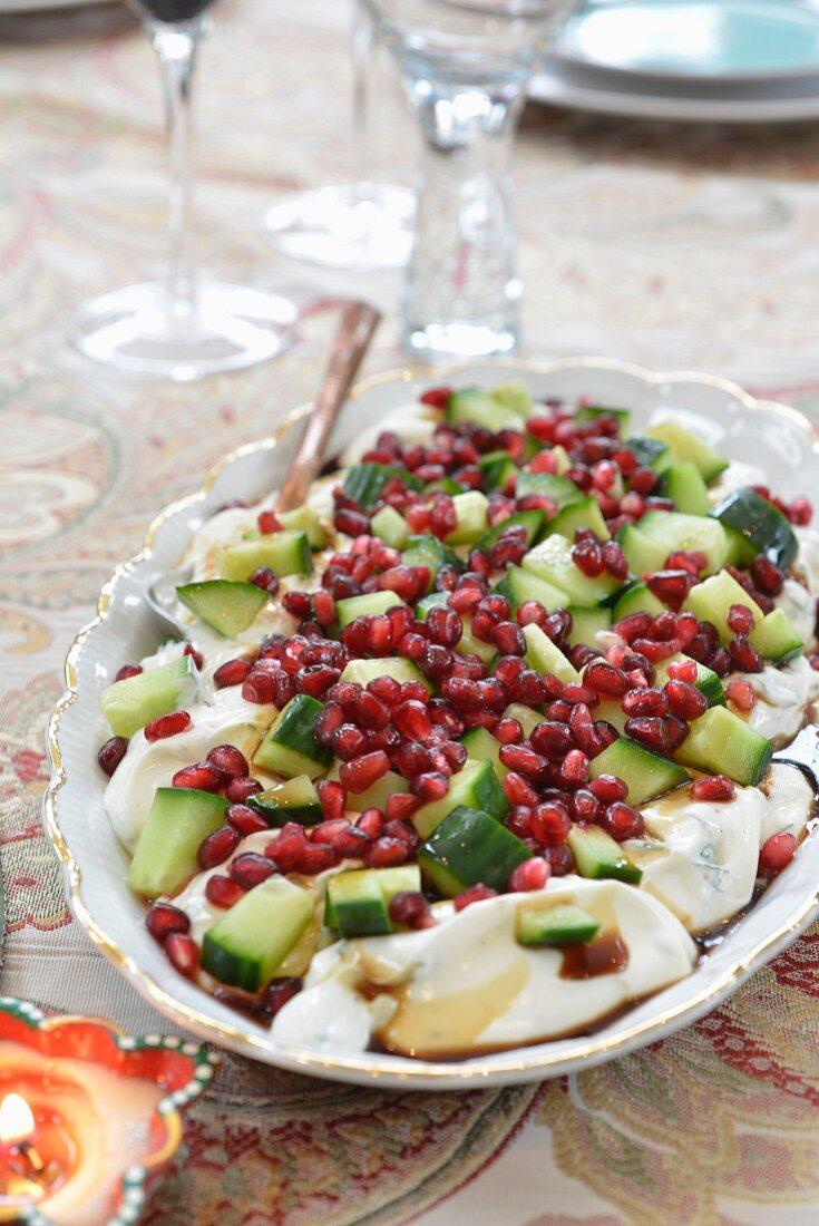 Cucumber and pomegranate raita