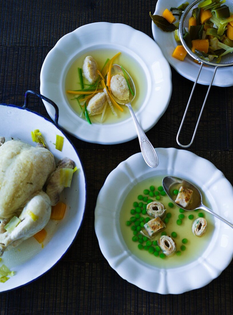 ADHD food: chicken broth with various garnishes