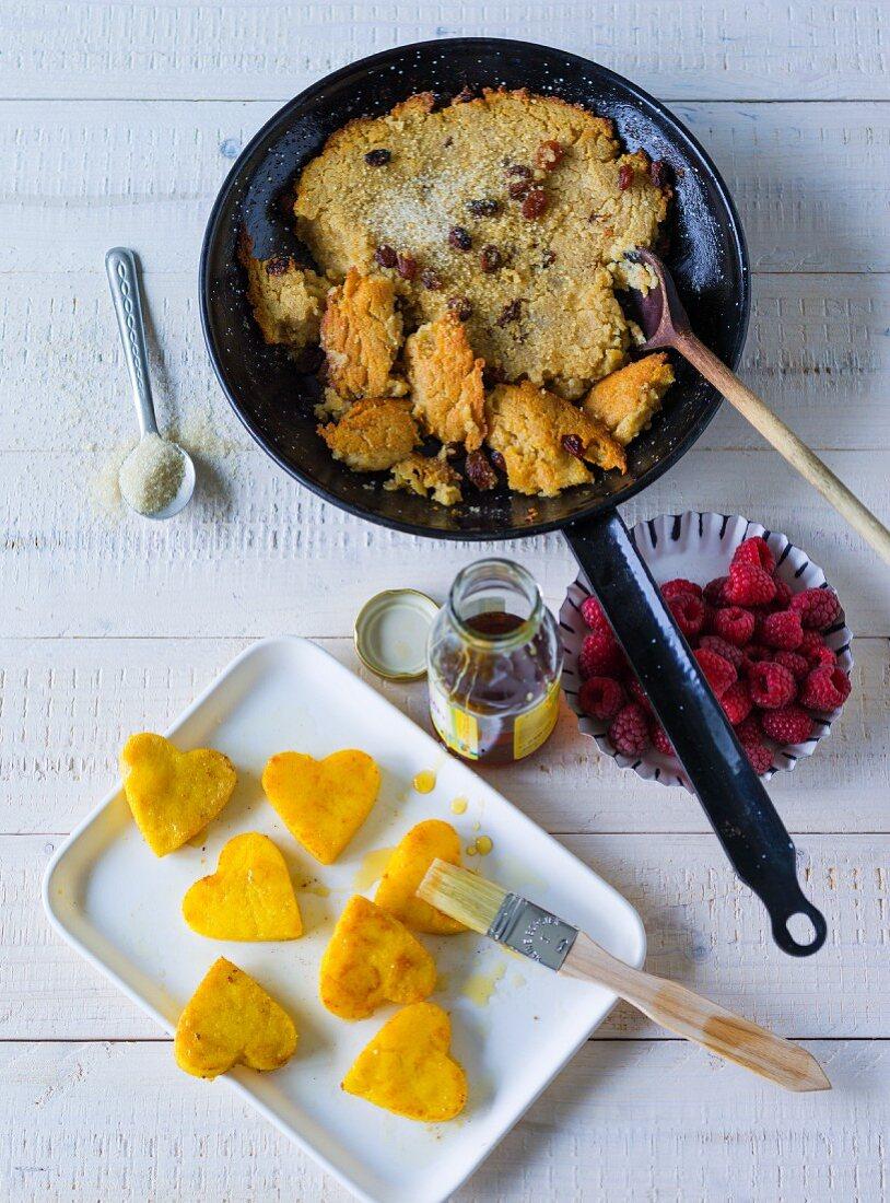 ADHD food: semolina hash and polenta hearts