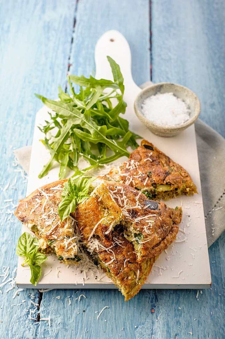 Vegetable frittata with grated Parmesan