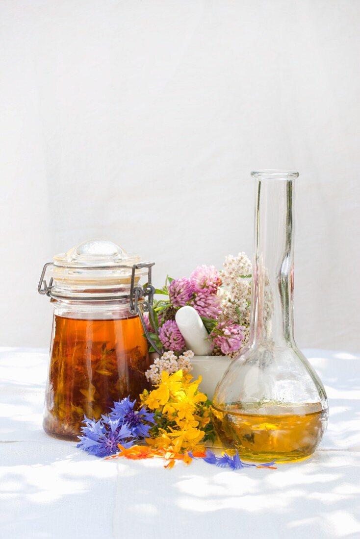 An arrangement of utensils for preparing medicinal herbs