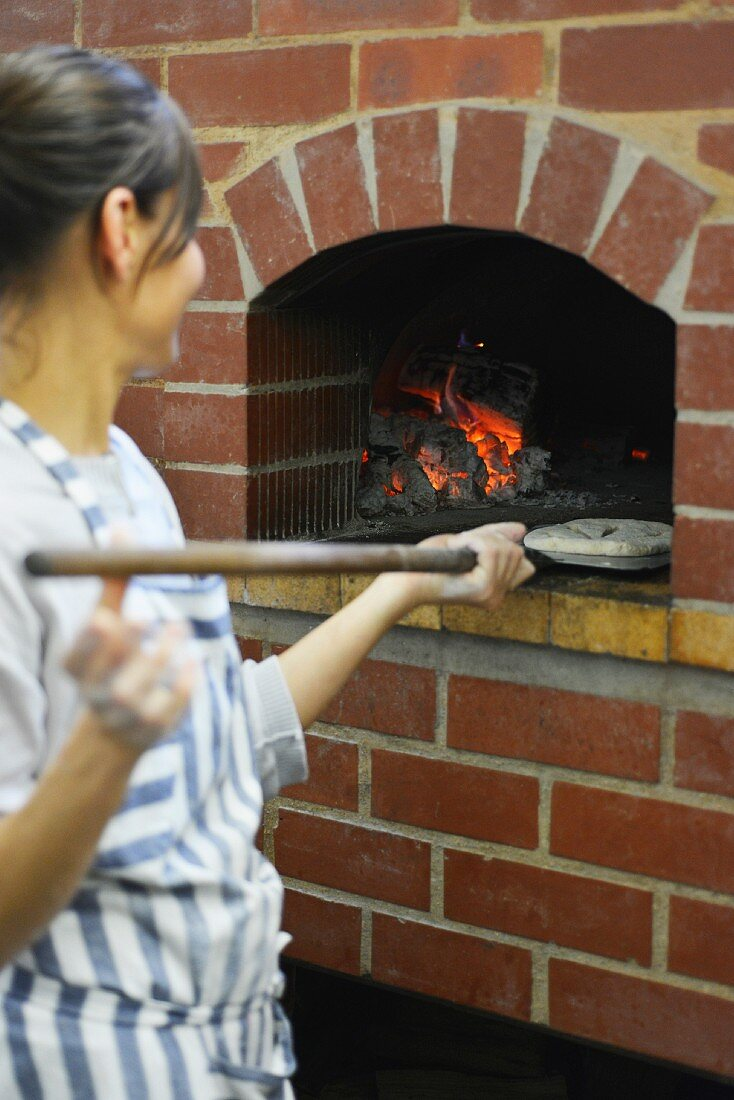 Unleavened bread being baked