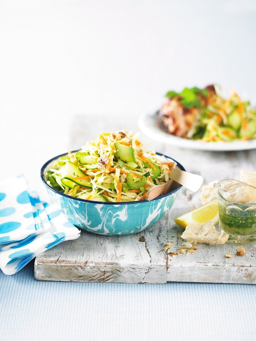 Courgette salad with walnuts and lemon dressing for a picnic