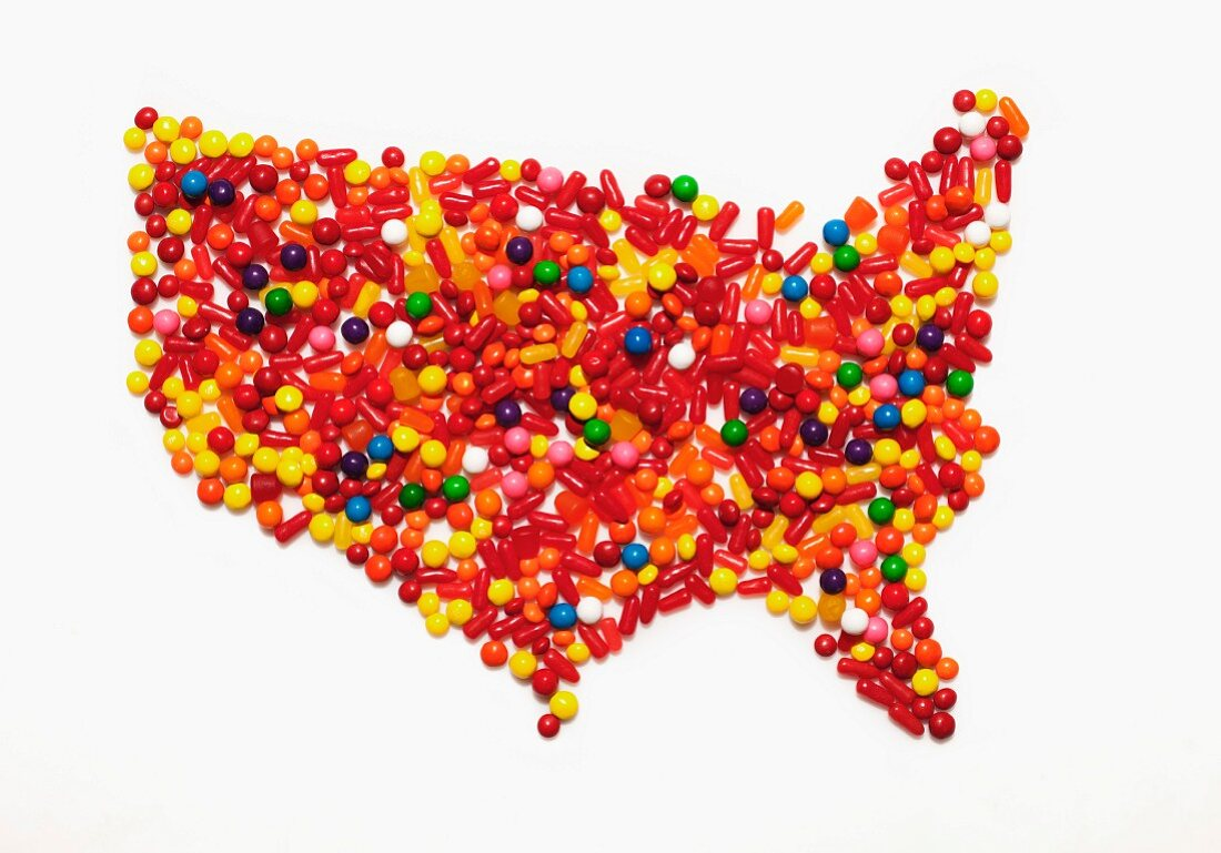 Karte der Vereinigten Staaten von Amerika aus bunten Bonbons