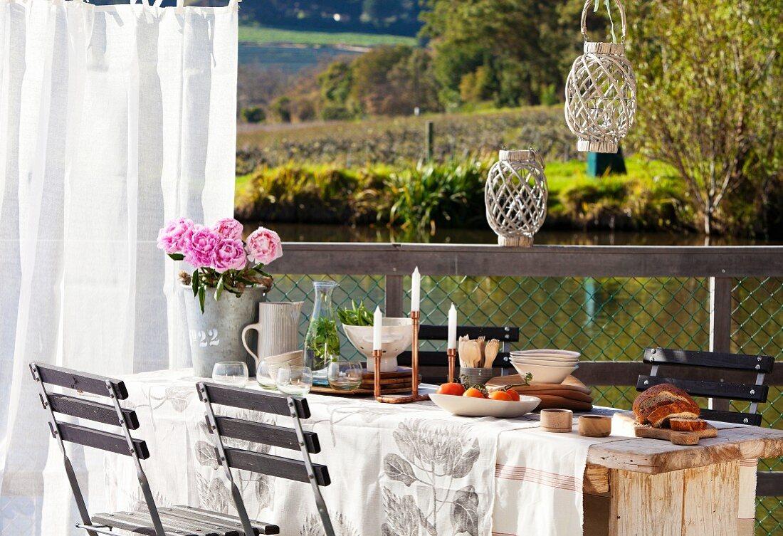 Set table next to pond
